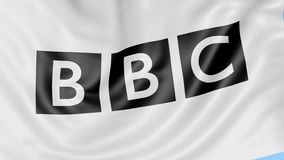 Close-up of waving flag with British Broadcasting Corporation BBC logo, seamless loop, blue background, editorial. Close up of waving flag with British stock illustration