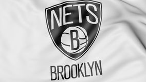 Close-up of waving flag with Brooklyn Nets NBA basketball team logo, 3D rendering Royalty Free Stock Image