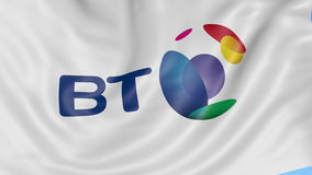 Close up of waving flag with BT Group logo, seamless loop, blue background. Editorial animation. 4K ProRes, alpha. Close up of waving flag with BT Group logo stock video