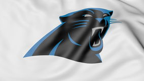 Close-up of waving flag with Carolina Panthers NFL American football team logo, 3D rendering Royalty Free Stock Photography