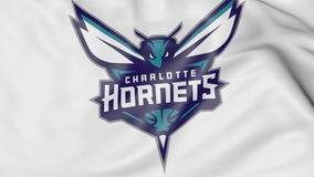 Close-up of waving flag with Charlotte Hornets NBA basketball team logo, 3D rendering Royalty Free Stock Photography