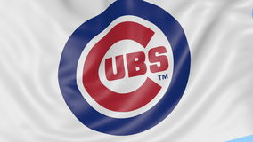 Close-up of waving flag with Chicago Cubs MLB baseball team logo, seamless loop, blue background. Editorial animation