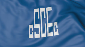 Close up of waving flag with China State Construction Engineering Corporation CSCEC logo, 3D rendering Stock Image