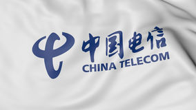 Close up of waving flag with China Telecom logo, 3D rendering Royalty Free Stock Photography