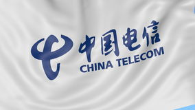 Close up of waving flag with China Telecom logo, seamless loop, blue background. Editorial animation. 4K ProRes, alpha stock footage