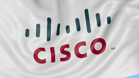 Close up of waving flag with Cisco Systems logo, seamless loop, blue background. Editorial animation. 4K ProRes, alpha. Close up of waving flag with Cisco logo stock video