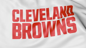 Close-up of waving flag with Cleveland Browns NFL American football team logo, 3D rendering Stock Photos
