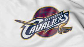 Close-up of waving flag with Cleveland Cavaliers NBA basketball team logo, 3D rendering Royalty Free Stock Photo