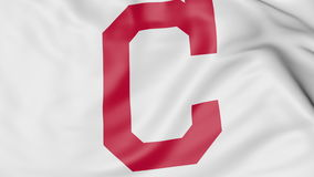 Close-up of waving flag with Cleveland Indians MLB baseball team logo, 3D rendering Stock Photo