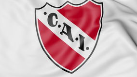 Close-up of waving flag with Club Atletico Independiente logo, 3D rendering Stock Image