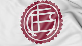 Close-up of waving flag with Club Atletico Lanus football club logo, 3D rendering Royalty Free Stock Image