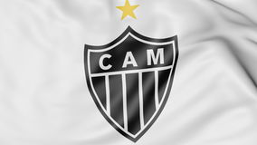 Close-up of waving flag with Clube Atletico Mineiro football club logo, 3D rendering Stock Image