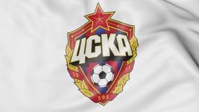 Close-up of waving flag with CSKA Moskva football club logo, 3D rendering Royalty Free Stock Image