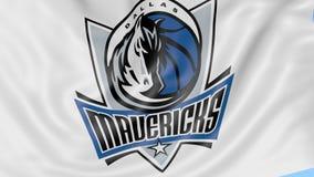 Close-up of waving flag with Dallas Mavericks NBA basketball team logo, seamless loop, blue background. Editorial stock footage