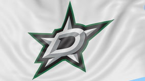 Close-up of waving flag with Dallas Stars NHL hockey team logo, seamless loop, blue background. Editorial animation. 4K. Clip stock footage