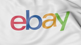Close-up of waving flag with eBay Inc. logo, editorial 3D rendering. United States United States stock illustration