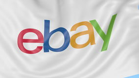 Close-up of waving flag with eBay Inc. logo, seamless loop, blue background, editorial animation. 4K ProRes royalty free illustration