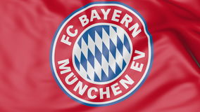 Close-up of waving flag with FC Bayern Munich football club logo Stock Images
