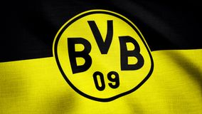 Close-up of waving flag with FC Borussia Dortmund football club logo, seamless loop. Editorial animation stock images