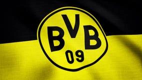 Close-up of waving flag with FC Borussia Dortmund football club logo, seamless loop. Editorial animation