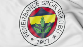 Close-up of waving flag with Fenerbahce football club logo, 3D rendering Royalty Free Stock Photography