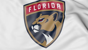 Close-up of waving flag with Florida Panthers NHL hockey team logo, 3D rendering Stock Photos