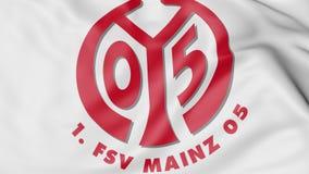 Close-up of waving flag with FSV Mainz 05 II football club logo, 3D rendering Stock Photos