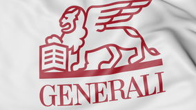 Close-up of waving flag with Generali Group logo, editorial 3D rendering Stock Photography
