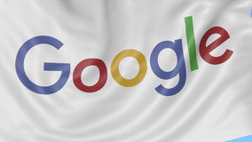 Close up of waving flag with Google logo, seamless loop, blue background. Editorial animation. 4K ProRes, alpha. Flapping flag with Google logo, seamless looping stock footage