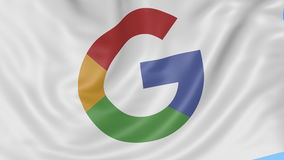 Close up of waving flag with Google logo, seamless loop, blue background. Editorial animation. 4K ProRes, alpha. Flapping flag with Google logo, seamless looping stock illustration