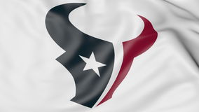 Close-up of waving flag with Houston Texans NFL American football team logo, 3D rendering