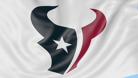 Close-up of waving flag with Houston Texans NFL American football team logo, seamless loop, blue background. Editorial