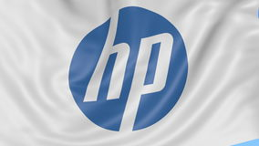 Close up of waving flag with HP Inc. logo, seamless loop, blue background. Editorial animation. 4K ProRes, alpha. Close up of waving flag with Hewlett-Packard stock footage