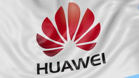 Close up of waving flag with Huawei logo, seamless loop, blue background. Editorial animation. 4K ProRes, alpha. Close up of waving flag with Huawei logo stock video footage