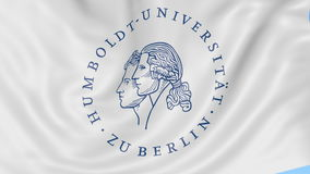 Close-up of waving flag with Humboldt University of Berlin emblem, seamless loop, blue background. Editorial animation. 4K clip stock video