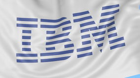 Close up of waving flag with IBM logo, seamless loop, blue background. Editorial animation. 4K ProRes, alpha. Flapping flag with IBM logo, seamless looping vector illustration