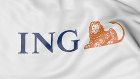 Close-up of waving flag with ING Group logo, editorial 3D rendering Royalty Free Stock Image