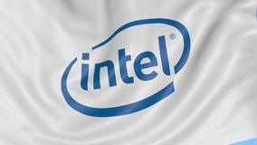 Close up of waving flag with Intel Corporation logo, seamless loop, blue background. Editorial animation. 4K ProRes. Close up of waving flag with Intel logo stock video