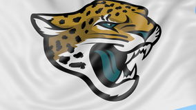 Close-up of waving flag with Jacksonville Jaguars NFL American football team logo, seamless loop, blue background stock video