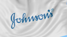 Close up of waving flag with Johnson's logo, seamless loop, blue background. Editorial animation. 4K ProRes, alpha. Close up of waving flag with Johnson's logo vector illustration