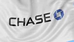 Close up of waving flag with JPMorgan Chase Bank logo, seamless loop, blue background. Editorial animation. 4K ProRes stock video footage