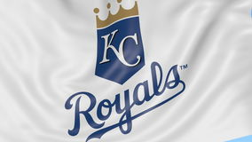 Close-up of waving flag with Kansas City Royals MLB baseball team logo, seamless loop, blue background. Editorial stock footage