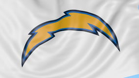 Close-up of waving flag with Los Angeles Chargers NFL American football team logo, seamless loop, blue background stock illustration