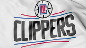 Close-up of waving flag with Los Angeles Clippers NBA basketball team logo, 3D rendering Stock Images