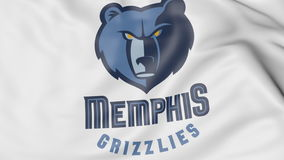 Close-up of waving flag with Memphis Grizzlies NBA basketball team logo, 3D rendering Royalty Free Stock Photography