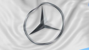 Close up of waving flag with Mercedes-Benz logo, seamless loop, blue background. Editorial animation. 4K ProRes, alpha