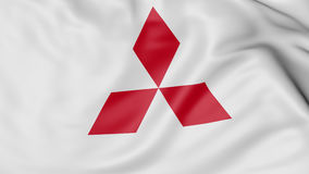 Close up of waving flag with Mitsubishi logo, 3D rendering Stock Photo