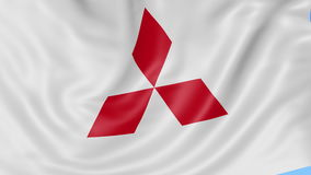 Close up of waving flag with Mitsubishi logo, seamless loop, blue background. Editorial animation. 4K ProRes, alpha. Close up of waving flag with Mitsubishi logo stock footage