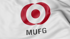 Close up of waving flag with MUFG logo, 3D rendering Royalty Free Stock Images
