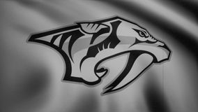 Close-up of waving flag with Nashville Predators NHL hockey team logo monochrome, tv noise, seamless loop, blue stock video
